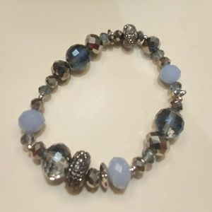 Breaded bracelet, stretches, blue, Silver